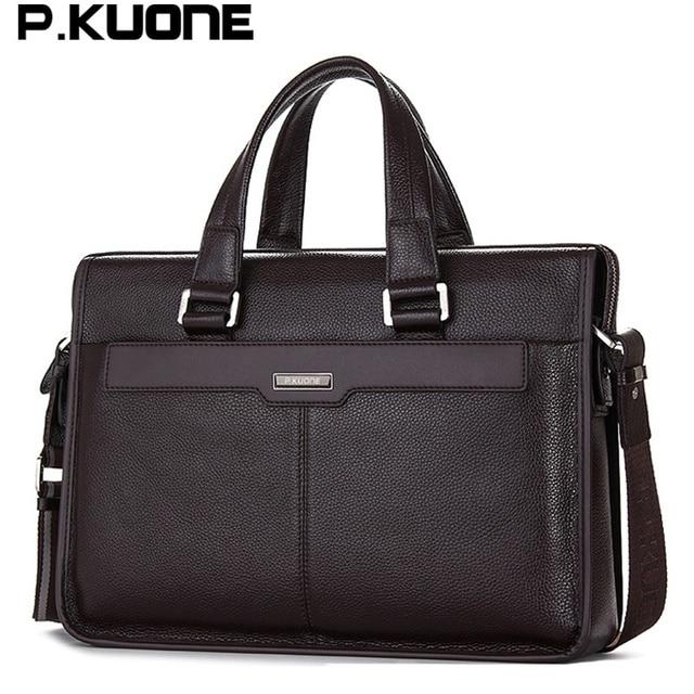 Men shoulder messenger bag men's genuine leather Business briefcase, man bag for 15.6' laptop computer 2018 male handbag 1