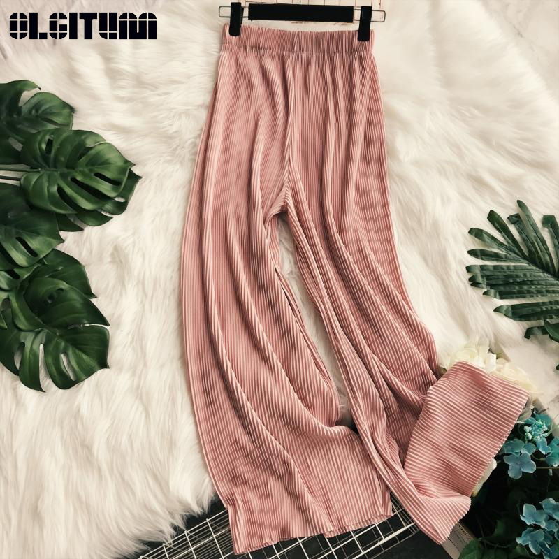 New Fashion Wide Leg Pants Women 2020 Gentle Temperament Solid Loose Elastic Waist Pleated All-match Casual Trousers For Female