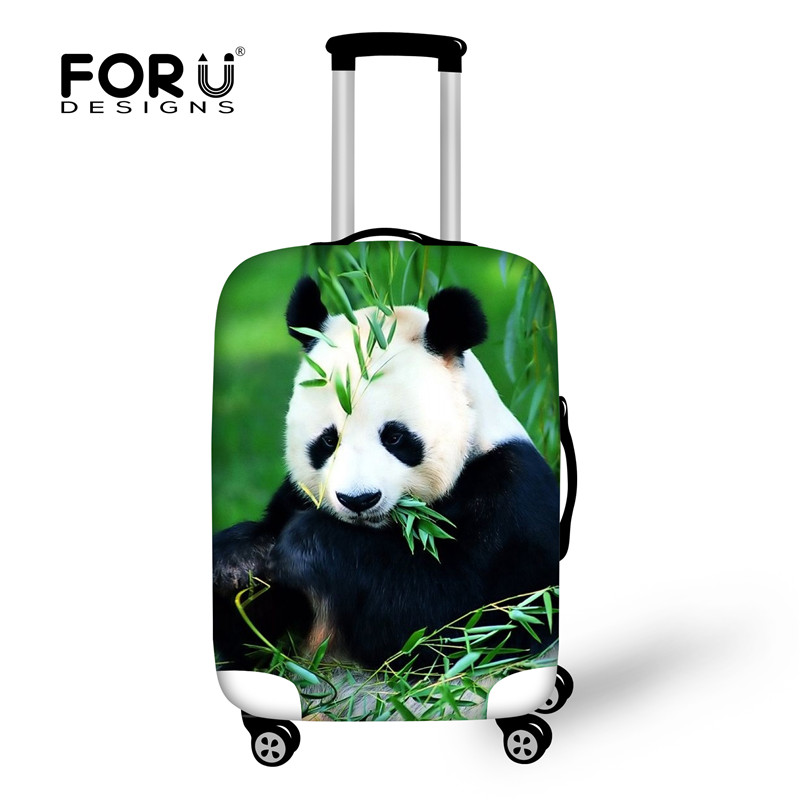 FORUDESIGNS Stretch Waterproof Luggage Cover To 18-28 Suit Case Kawaii Panda Print Suitcase Protective Covers Travel Accessories
