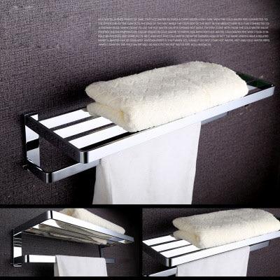 Luxury Chrome Bathroom Towel Shelf, Bath Towel Holder Double Rails Brass Towel Racks Copper Finish Towel Rack Bar Wall Mounted gold finish bath wall mounted storage shelf cosmetic rack with towel bar