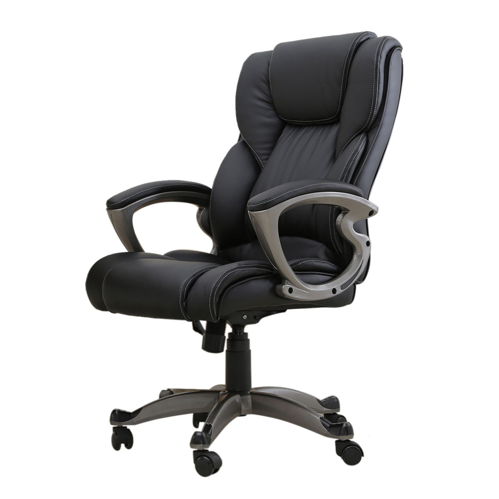 Executive Chair Swivel Office Chair Faux Leather High Back Gas Lift Black  Armchair Rolling Legs Office Furniture Dropshipping In Office Chairs From  ...