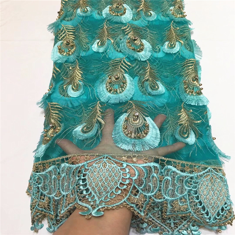 Lace 2018 African Cord Lace Fabrics High Quality african lace fabric Lake bule high quality lace