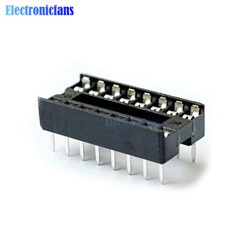 50 pces preto 16-pins dip ic soquetes adaptador de solda tipo soquete