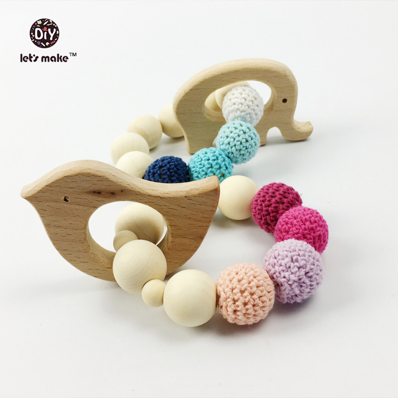 Let's make Wooden Teether Toy Bird Elephant Set Wood Bead Teething Bracelet Organic Wood Baby Mom Kids Heart 2pcs/lot