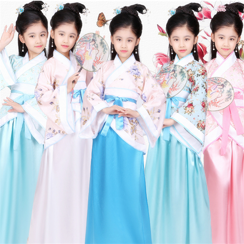 Kids Chinese Girls Hanfu Stage Outfit Performance Clothing Singer Stage Festival Folk Dance Ancient Costume Princess Fairy Dress