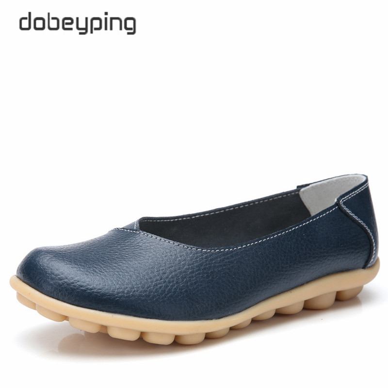 Dobeyping New Spring Autumn Shoes Woman Genuine Leather Women Flats Shallow Women's Loafers Sewing Female Shoe Big Size 35-44