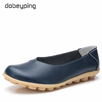 dobeyping New Spring Autumn Shoes Woman Genuine Leather Women Flats Shallow Women's Loafers Sewing Female Shoe Big Size 35-44 dobeyping genuine leather woman flats new winter plush boat shoe women keep warm female loafers moccasins mother cotton shoes