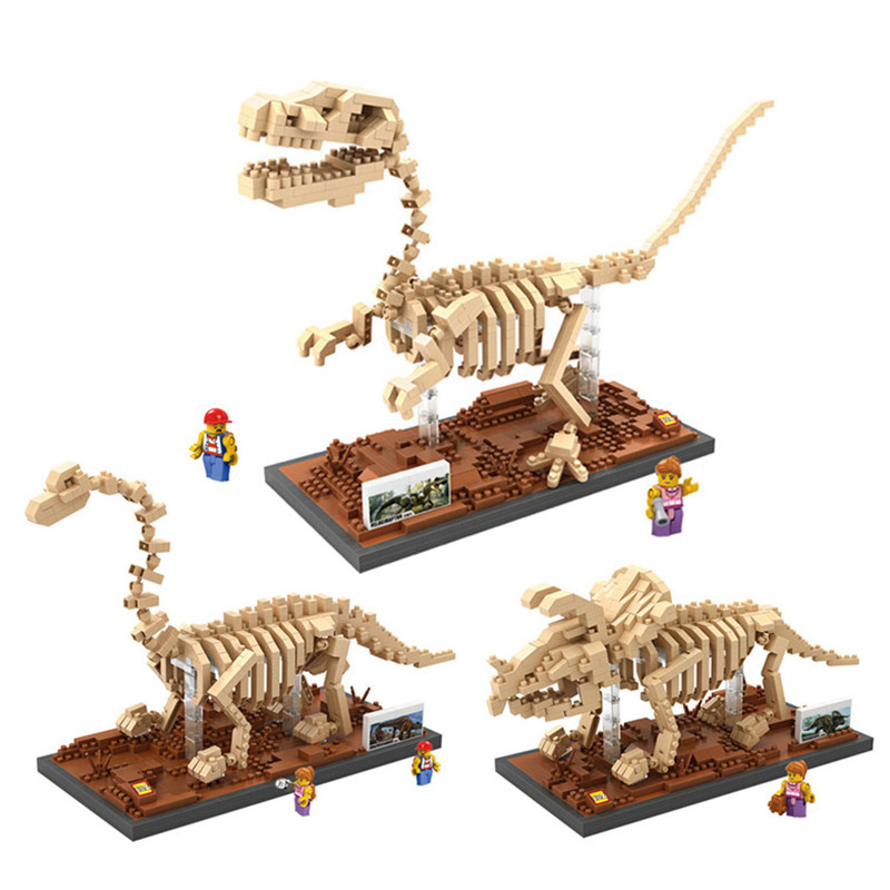 Jurassic World Park Velociraptor Fossil Action Figures Simulation Dinosaurs Model Diamond Blocks Assemblage Toys Gifts окумол 0 25