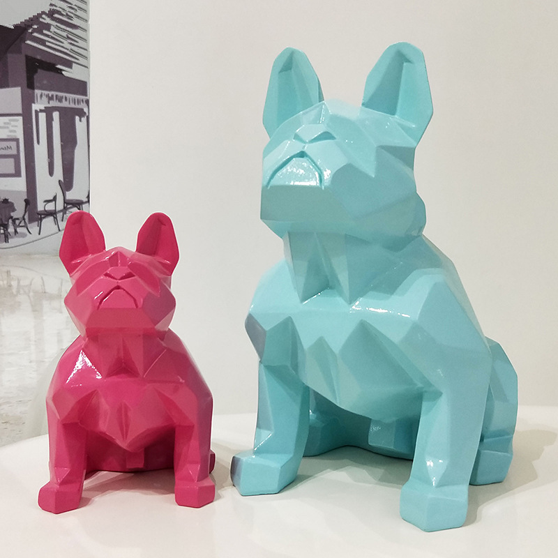 Large Size 13 Colors Creative Nordic Abstract Geometric Resin Dog Statue Modern Minimalist French Bulldog Sculpture OrnamentLarge Size 13 Colors Creative Nordic Abstract Geometric Resin Dog Statue Modern Minimalist French Bulldog Sculpture Ornament