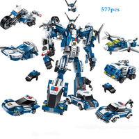 6 In 1 Police War Generals Robot Car Legoings Building Blocks Kit Children's DIY toys