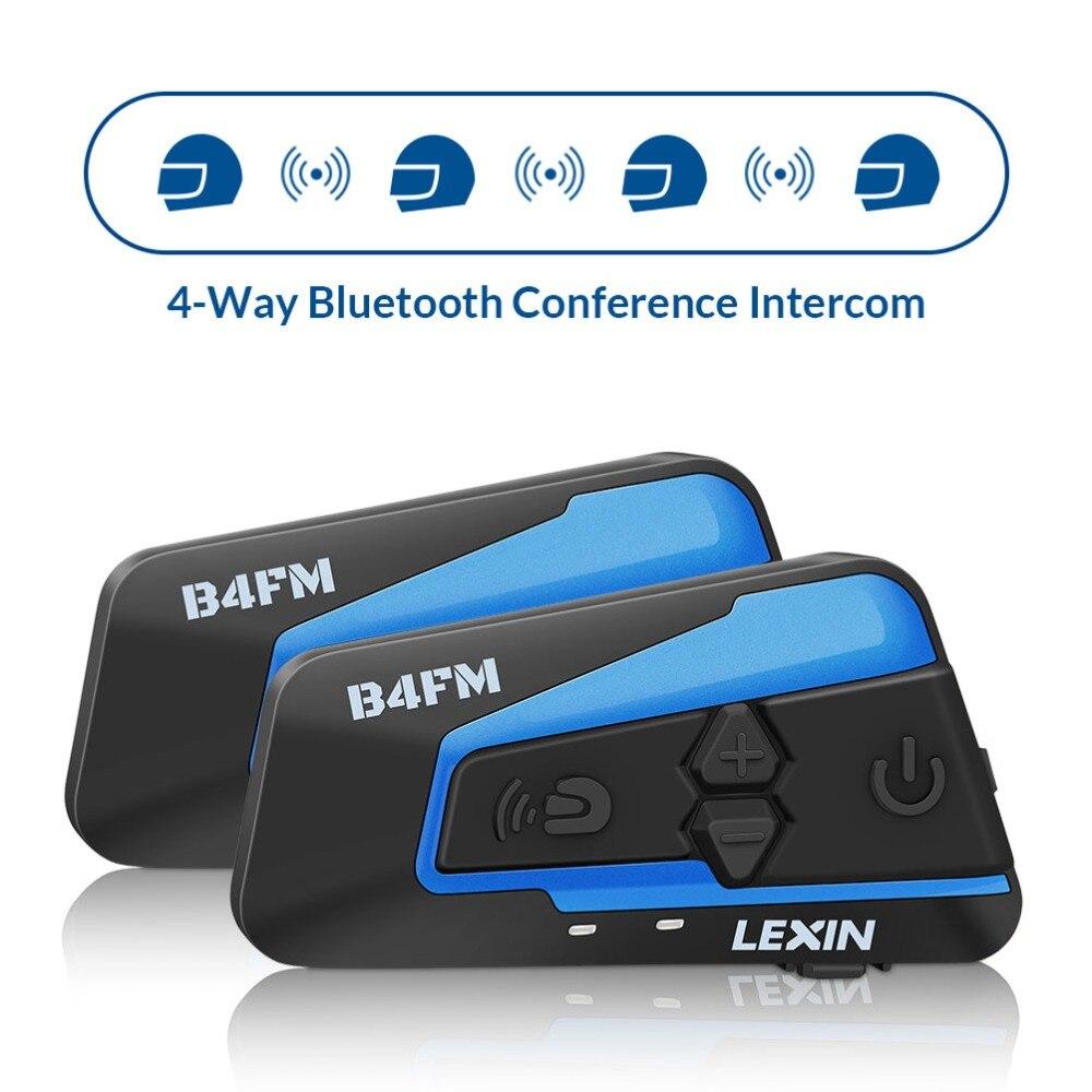 2 stücke Lexin 4 Weg Motobike, Motorrad Bluetooth Helm Headsets Intercom, FM BT intercomunicador kopfhörer MP3 interfone