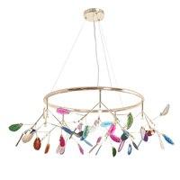 Post modern nordic chandelier light agate stone G4 led lamp 110V creative design luxury art decoration hanging lamp home villa