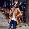 2015 nueva moda de primavera otoño mujeres Trench Coat prendas de vestir exteriores larga caliente venta suelto en toda la cintura de primavera trinchera abrigo femenino abrigo