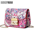 2016 New Spoof Graffiti Women Messenger Bag Small Flap Chain Crossbody Bag 2016 Luxury Leather Lady Handbag Print Crossbody Bag