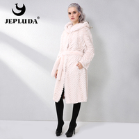 JEPLUDA Classical Real Fur Jacket Women Cloak Hooded Soft Warm Natural Real Rex Rabbit Fur Coat New Genuine Leather Jacket Women