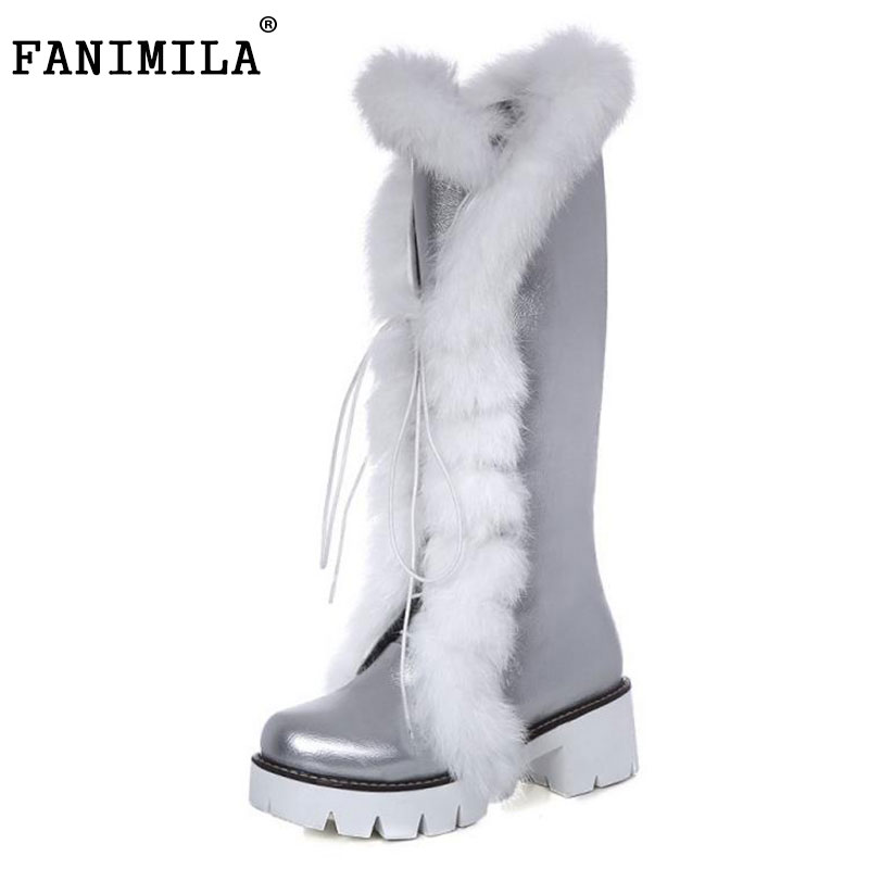 FANIMILA Size 33-43 Women Knee High Heel Boots Plush Fur High Heel Boots For Winter Shoes Women Warm Long Botas Women Footwear thigh high over the knee snow boots womens winter warm fur shoes women solid color casual waterproof non slip plush wedges botas