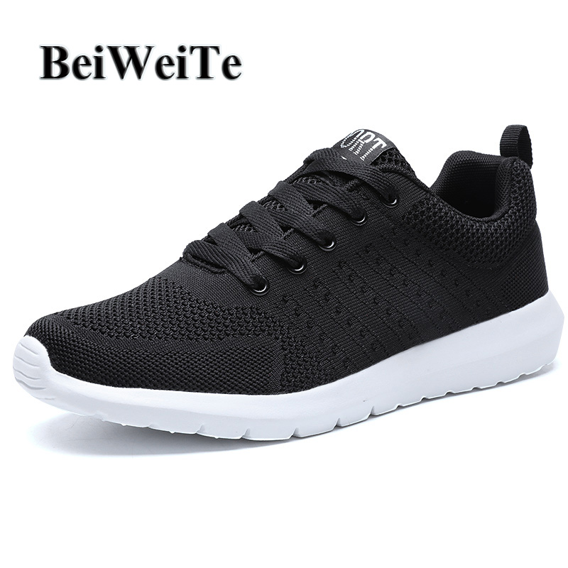 BeiWeiTe Men New Trend Black Athletic Sport Running Shoes Anti-skid Soft Trail Walking Tourist Sneakers Breathable Jogging Shoes