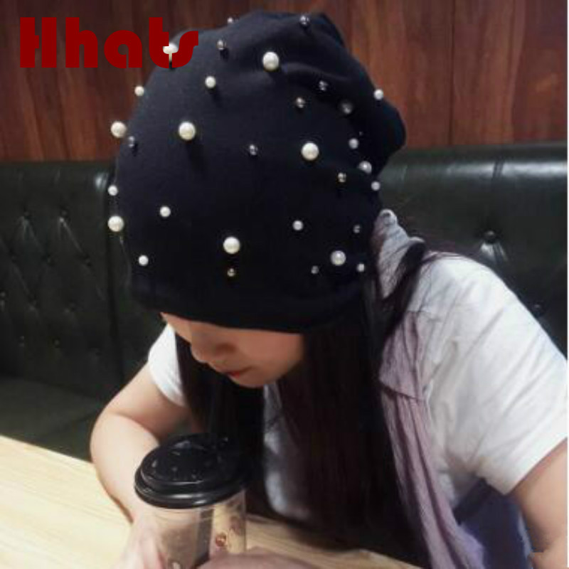 fashion women pearl turban hat cotton soft solid female stocking hat spring autumn skullies beanie outdoor girl earflap cap