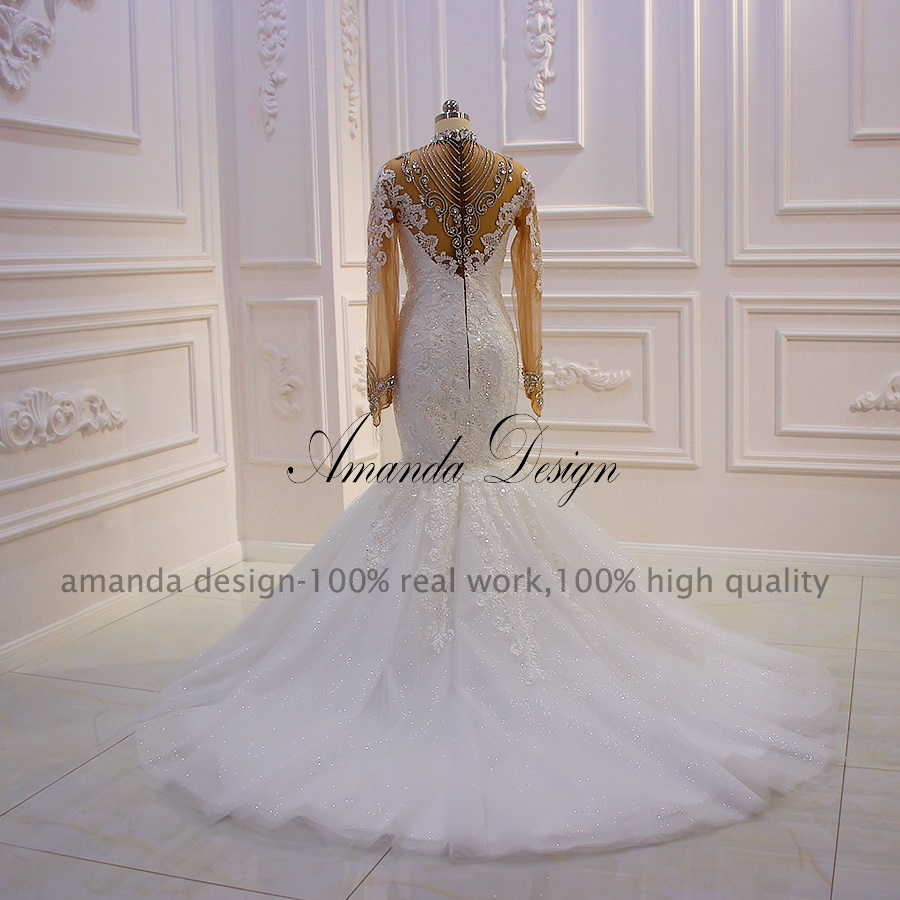 Image 4 - Amanda Design robe mariee Long Sleeves Lace Appliques Crystal See Through Mermaid Wedding DressWedding Dresses   -