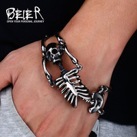 BEIER New Cool Punk Skull Bracelet For Man 316 Stainless Steel Man's High Quality Jewelry BC8 047