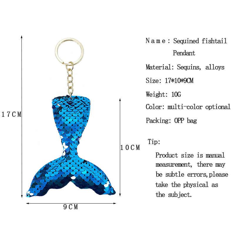 Novo multi color flip rosto lantejoulas sereia cauda rabo de peixe cauda em forma de anel chave meninas pingente de chave do carro pingente cadeia pequenos presentes