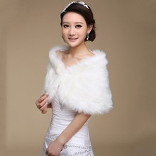2018 Fur Shawl Wedding Wrap Formal Dress Cheongsam Pregnantwith Married Outerwear Bride Cape Ivory Autumn Winter Jacket(China)
