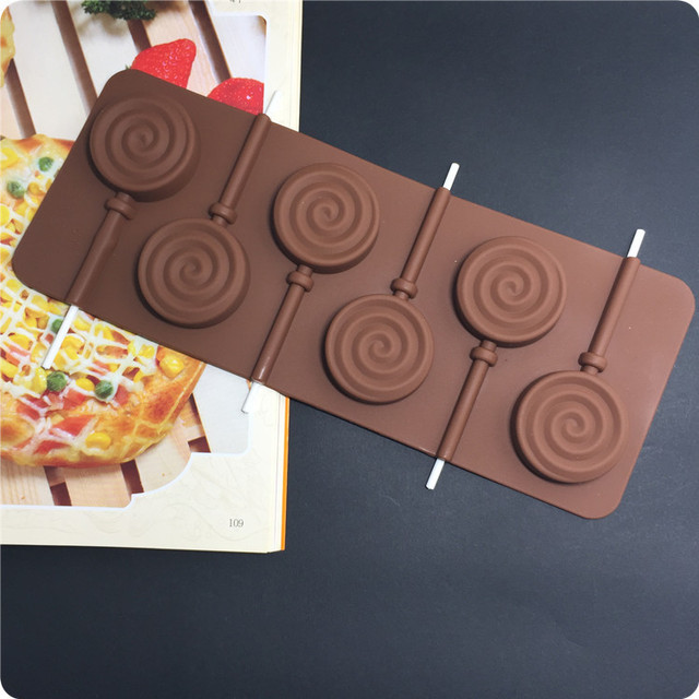 New Arrival Swirl Silicone Chocolate Lollipop Mold Candy Wedding Decoration Kitchen Bakeware Cooking Fondant Cake Tools