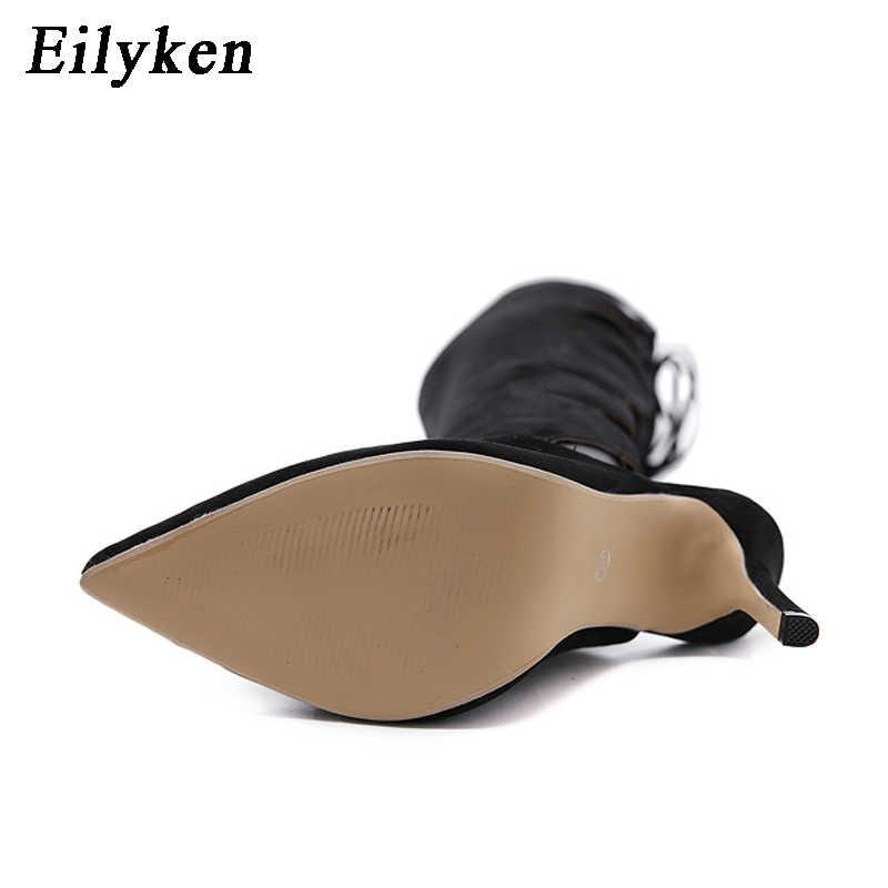 Eilyken ฤดูใบไม้ร่วงสตรี Over เข่าต้นขาสูง LACE-Up รองเท้าชี้ Toe Cross-tied รองเท้าบู๊ตรถจักรยานยนต์ผู้หญิงสีดำขนาด 35-40