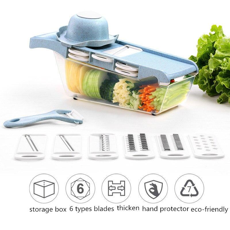 Multi function Slicers Kitchen Tools Vegetable Cutter Household Kitchen Gadget Shredder Potato Carrot Chopper Garlic Grinder in Manual Slicers from Home Garden