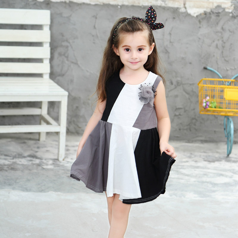 2018 New Fashion Girls Dress Splicing Princess Dress Black And White Gray Loose Kid Girls Dress For 0-8 Years Old M2