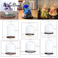 Transparent Glass Display Cloche Bell Flower Jar Dome DIY Micro Landscape Terrarium with Wooden Base Wedding Party Decoration