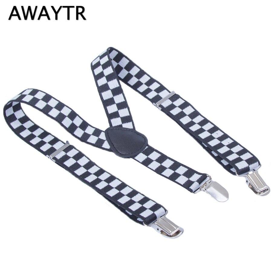 AWAYTR Baby Suspenders 2.5*65 cm Black and White Plaid Braces Children Suspenders Girls Adjustable Elastic Strap Tirantes