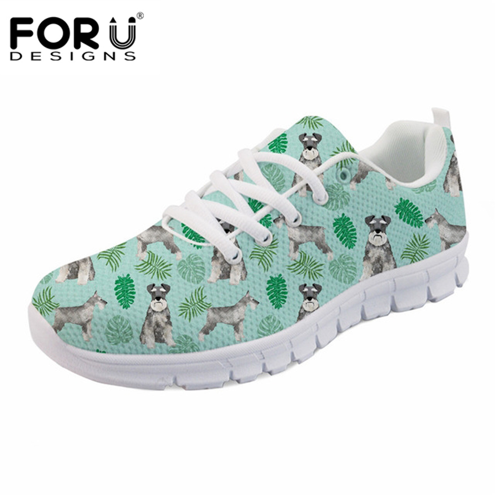 FORUDESIGNS Women Shoes Schnauzer Sneakers Flats Lace-Up Female Casual Zapatos Super-Light