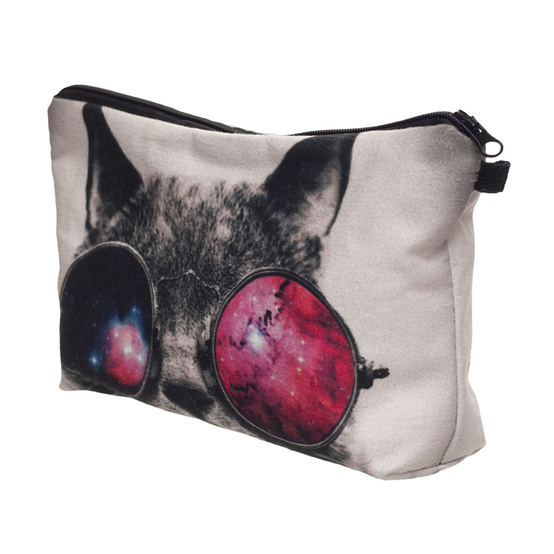 Galaxy sunglasses cat 3D Printing cosmetic bag organizer toiletry bag 2018 pencil makeup bags pouch necessaire makyaj cantasi unicorn 3d printing fashion makeup bag maleta de maquiagem cosmetic bag necessaire bags organizer party neceser maquillaje