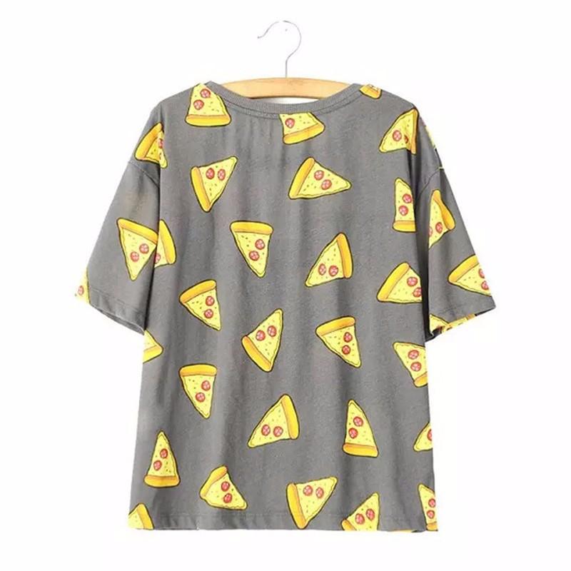 HTB1DftsOpXXXXcFXpXXq6xXFXXXV - No Drama Pizza Print Women T Shirts Short Sleeve