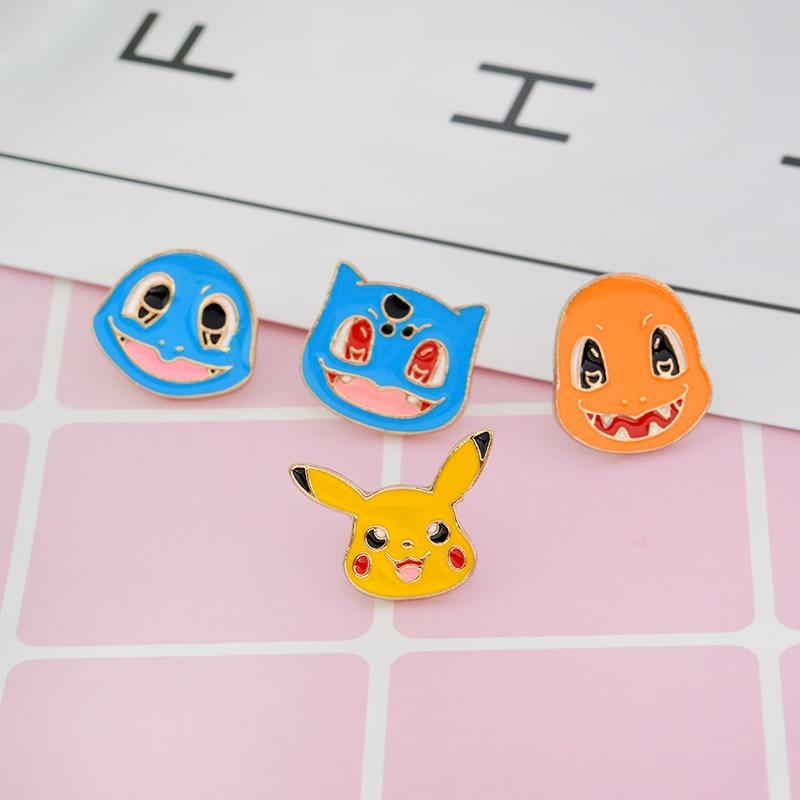 QIHE JEWELRY 4pcs/set brooch Squirtle Bulbasaur Charmander Pikachu Pins Pokemon go pins Game jewelry Game gift