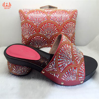 2019 Red Color Italian Shoe with Matching Bags High Heels African Shoe and Bag Set for Party In Women Nigerian Shoes and Bag Set