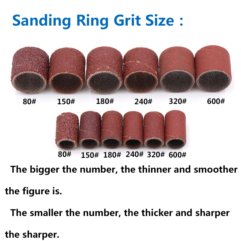 100 Sanding Band 80-600 Grits Sandpaper Electric Nail Art Drill File Replacement