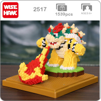 2517 Game Super Mario Fire Bowser Turtle Boss Animal Monster 3D Model DIY Diamond Mini Building Nano Blocks Toy Gift Collection