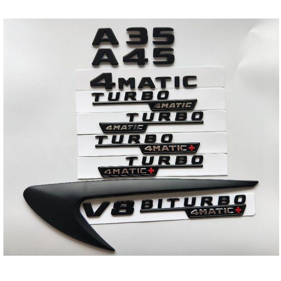 الحروف السوداء A35 A45 V8 BITURBO توربو 4MATIC + الحاجز الباب الخلفي شعار شارات شارة لمرسيدس بنز AMG W176 W177