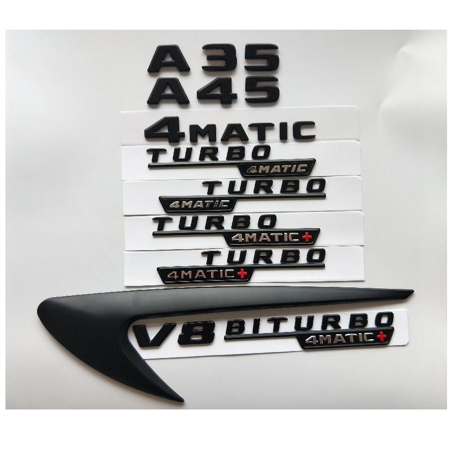 Black Letters A35 A45 V8 BITURBO TURBO 4MATIC+ Fender Trunk Tailgate Emblem Emblems Badges Badge For Mercedes Benz AMG W176 W177