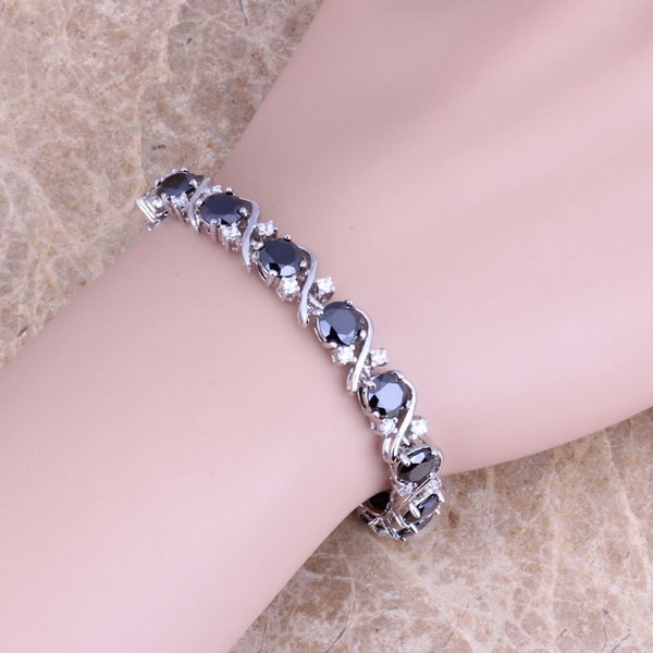 Black Cubic Zirconia White CZ 925 Sterling Silver Overlay Link Chain Bracelet 7 inch For Women S0265