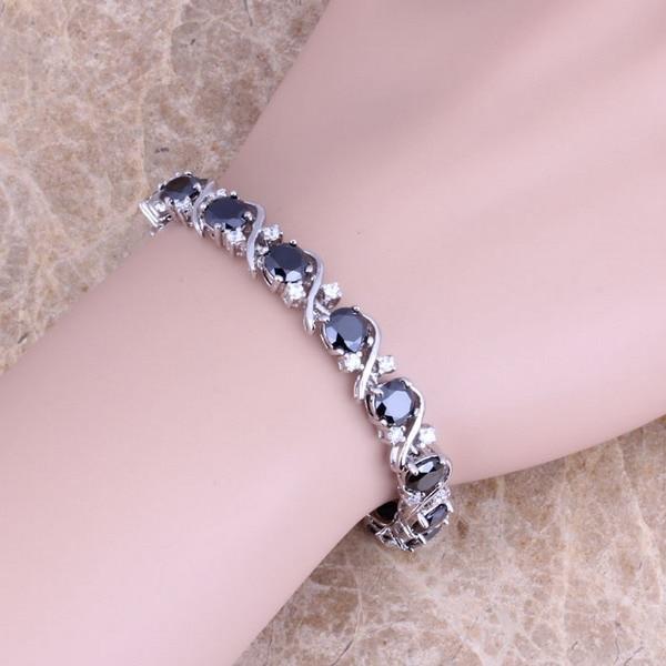 Black Cubic Zirconia White CZ 925 Sterling Silver Overlay Link Chain Bracelet 7 inch For Women S0265 цена