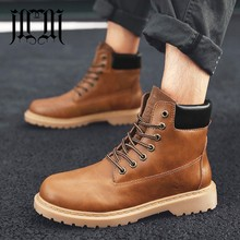 MUMUELI Brown Beige Leather New 2019 Designer Casual Luxury Chelsea Men Shoes High Top Quality Fashion Flat Brand Boots 0591