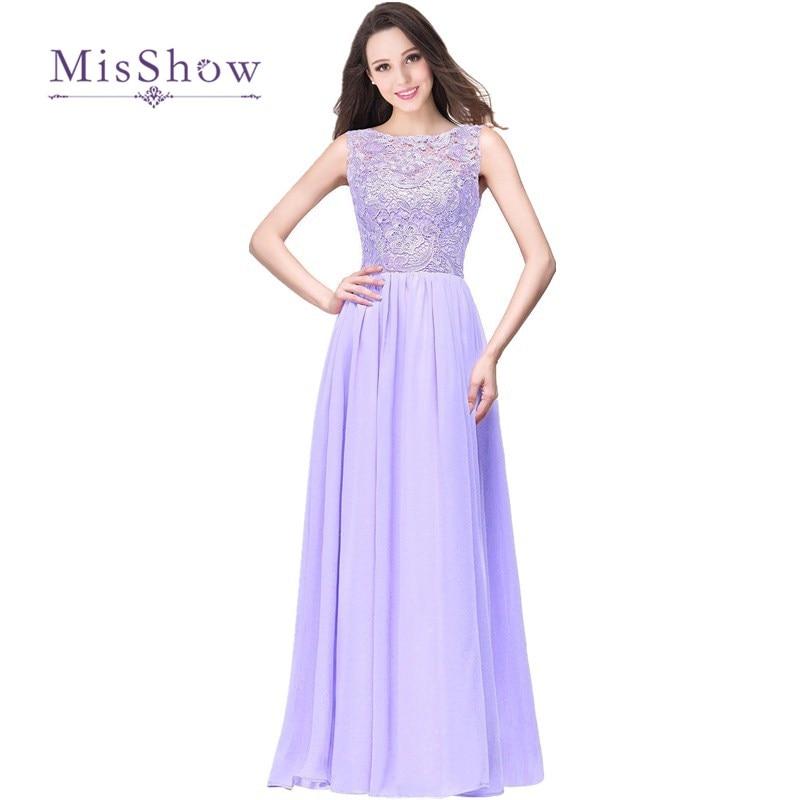 MisShow 10 Colors Robes De Demoiselle D'honneur A Line Long Lilac Bridesmaid Dresses  Chiffon Lace Prom Formal Party Gown