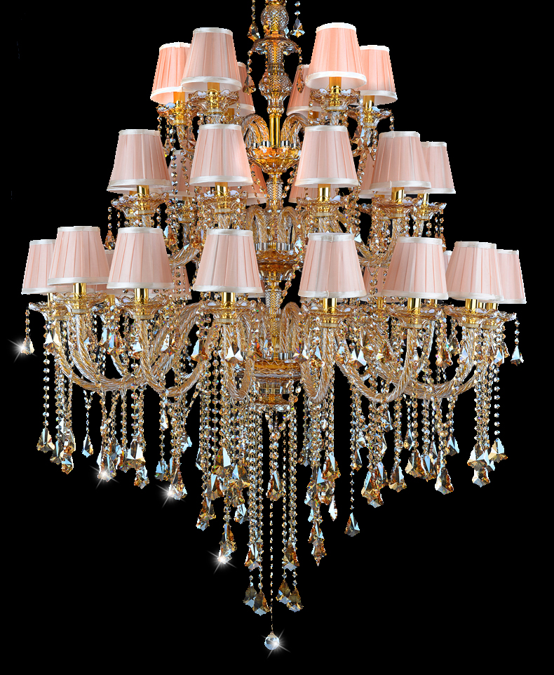 Antique Candle Chandeliers Champagne Crystal Chandelier: Vintage 32 Arm Led Gold Crystal Chandelier For Living Room