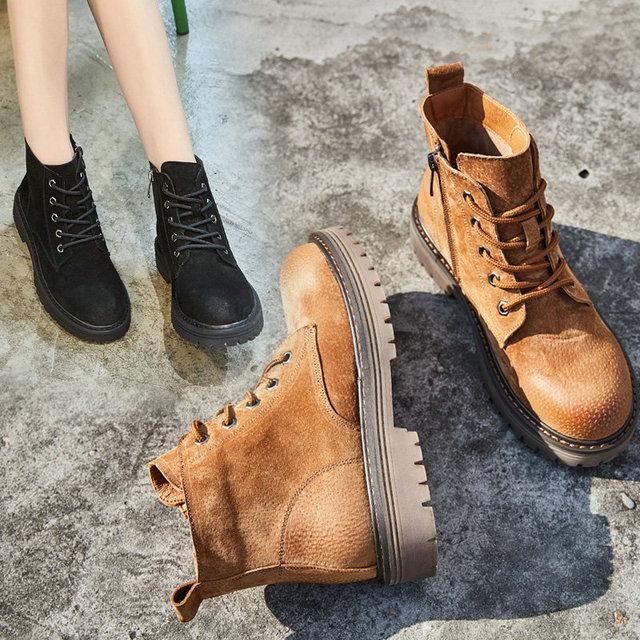 3a2e1b7184c70 Fashion Spring Autumn Platform Ankle Boots Women Zipper Thick Heel Martin  Boots Ladies Worker Boots Black Size 35-40