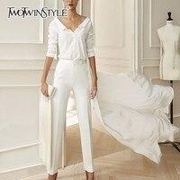 TWOTWINSTYLE Chiffon Shirt Female V Neck Long Sleeve Irregular Hem Large Size OL Blouse Tops For