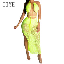 TIYE Women Sexy Deep V Neck Hollow Out Halter Dress Backless Cross Bandage High Split with Lined Maxi Summer Club
