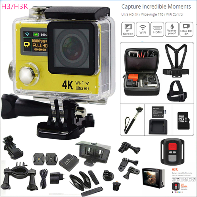 Action camera 4 K H3/H3R remote Ultra HD 4K 25fps WiFi 1080P dual screen 2.0 +0.95 gopro style 170D go waterproof pro sport cam